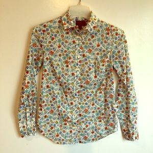 J CREW LIBERTY Cotton Floral Fabric BLOUSE TOP 00